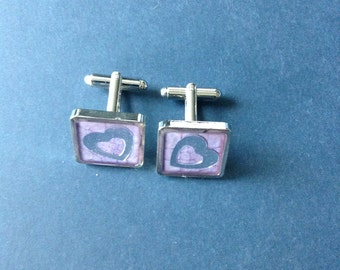 Rhodium Plated Cufflink with Enamel and Heart Design