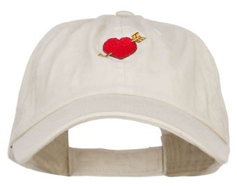 Heart with Arrow Embroidered Low Cap