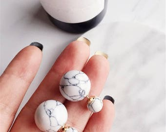Marble Pearl Double Earrings