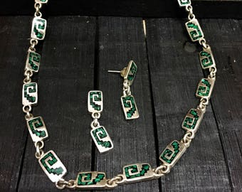 Vintage Mexican Taxco Sterling Silver/ Malachite Chip Inlay Necklace & Earrings    #209