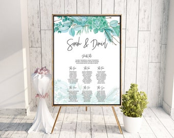 Wedding Seating Plan // Seating Chart, Welcome Sign, Printable Sign, Seating Plan, Digital Wedding Stationery - watercolour Succulent suite