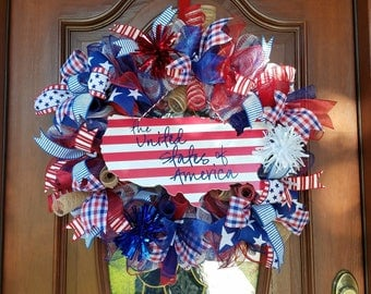 usa wreath, patriotic wreath, united states of america, wreaths, door decor, wreaths for sale, memorial day, veterans day, 4th of july