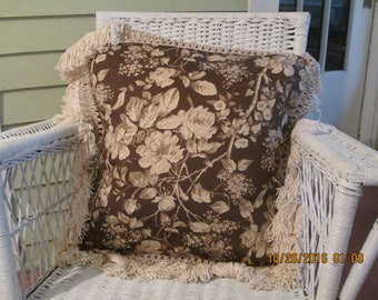 large english country pillow with wide macrame trim