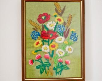 Vintage Floral Needlepoint Wall Hanging