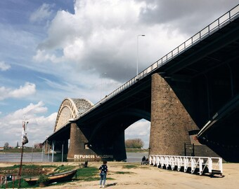 REFUGEES WELCOME, Bridge In Nijmegen. Refugees welcome, social, statement, society. Bridge, Nijmegen.