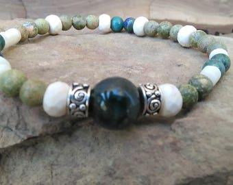 Boho Picasso Jasper, African Turquoise Beaded Stretch Bracelet