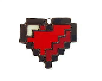 Stained Glass 8bit Heart Ornament