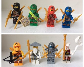 NINJAGO Set of 8 Minifigures. Perfect for Cake Toppers or Party Favors. Includes Lloyd Cole Jay Titanium Zane and more.