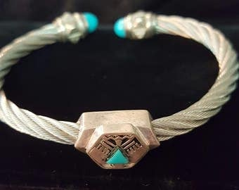 Vintage Sterling Native American Cable Cuff Bracelet