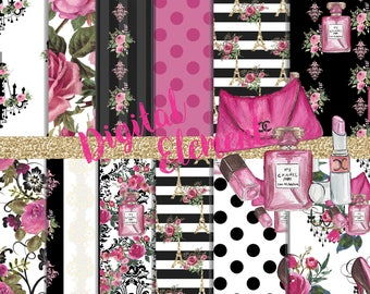 Digital Paper, Digital Scrapbook, Paris Digital Paper, Watercolor Fashion Paper, Fashion Pink and Black Digital Paper. No. P195