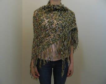 Crochet Shawl, Green and Dark Blue Crochet Shawl, Green Crochet Triangle Shawl, Crochet Triangle Shawl, Shoulder Shawl, ND0070