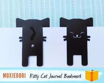 Black Cat Bookmark, Kitty Butt Face Bullet Point Journal Spread Marker, Animal Pet Bookmark