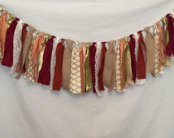 Autumn Garland/Burgundy Fabric Garland/Thanksgiving Decor/Orange Garland/Rustic Wedding Decor/Rustic Home Decor/Burlap Garland