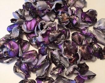 Purple Camo Rose Petals/Purple Satin Petals/Camouflage Rose Petals/Camo Flower Girl Petals/Camo Satin Petals/Purple Camo Wedding