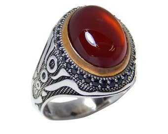 Man ring with carnelian and black zircon