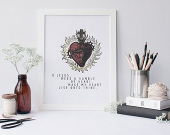 Sacred Heart of Jesus, Meek and Humble of Heart, Print, up to 8.5 x 11 — Digital Download