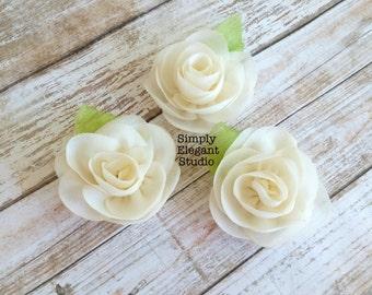Ivory- Sets of 3 Chiffon Flowers with Leaf, Headband Flowers, DIY Craft Flower Supply, Wholesale Flowers