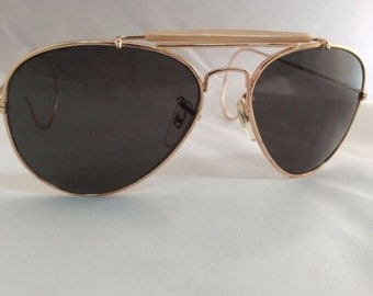 VIntage Double Bridge Gold Aviator suglasses with cable temples.