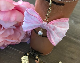 Pink floral Bow Planner Clip TN Charm