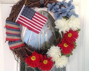 4th of July Front Door Wreath, Patriotic Wreath, Front Door Wreath, Summer Wreath