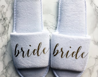 Gold Bride Slippers for Getting Ready, Bridal Showers