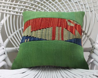 Turkish kilim pillow 16x16  decorative pillows for couch 16x16 green color patcwork pillow pillow covers embroidery pillow 2148