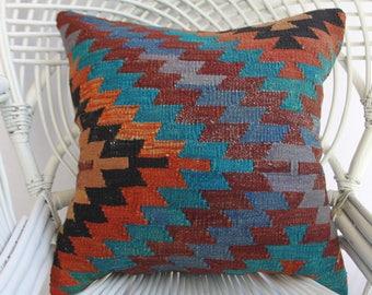 50x50 cm turkish kilim pillow throw pillow 20x20 handwoven geometric kilim pillow colorful kilim pillow boho pillow kilim pillow 1175