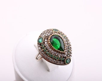Hurrem Drop! Turkish Handmade Jewelry Emerald Topaz 925 Sterling Silver Ring Size 7.75
