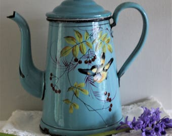 Vintage Charming French Enamel Coffee Pot with a Bird and Red Berries