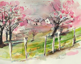 Original watercolor of a landscape with cherry blossoms, original painting of a farm in the fields, French landscape,birthday present