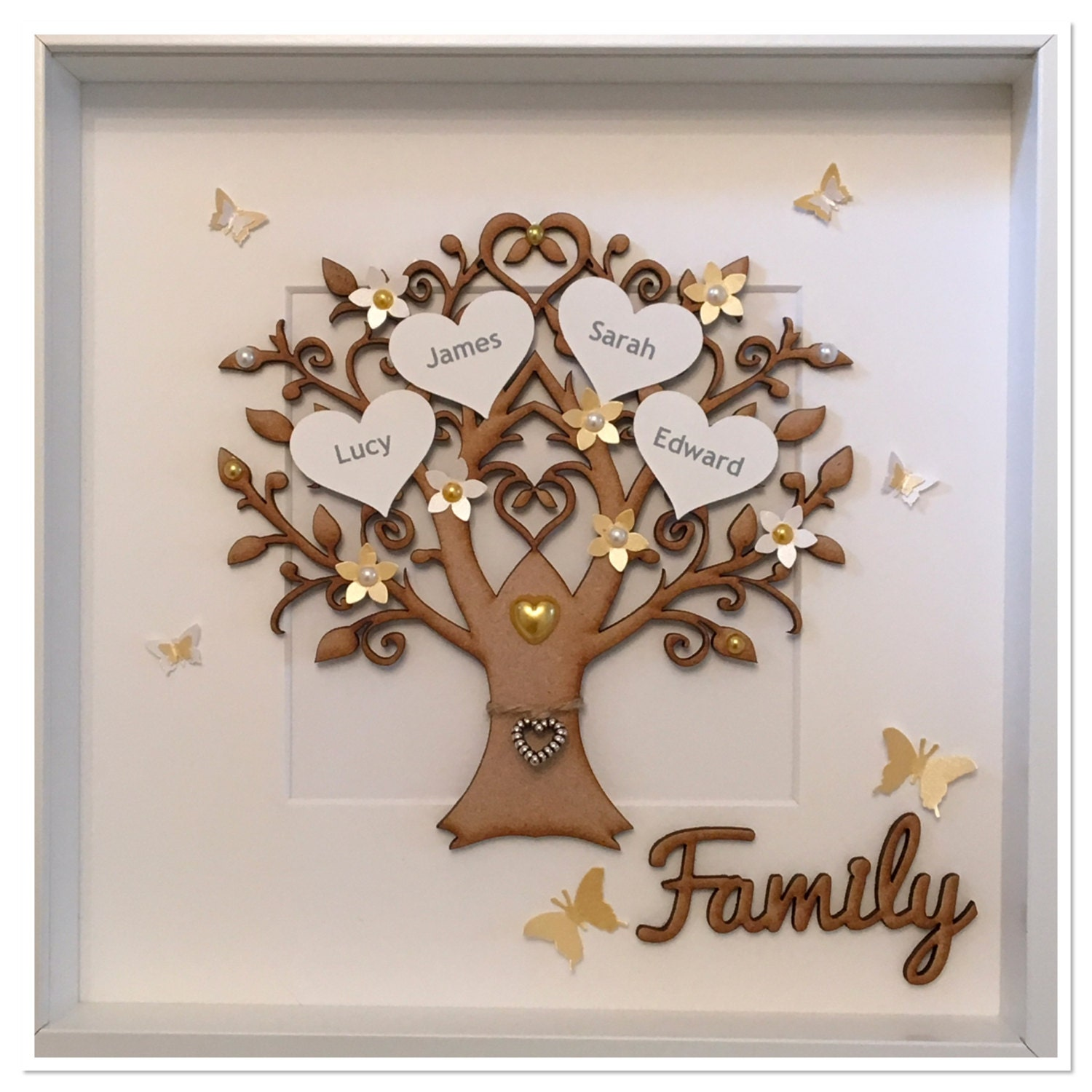 Personalised Box Frame Family Tree Anniversary Wedding Home
