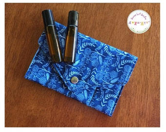 Essential oil pouch - 10ml or 15ml roller bottle blends aromatherapy