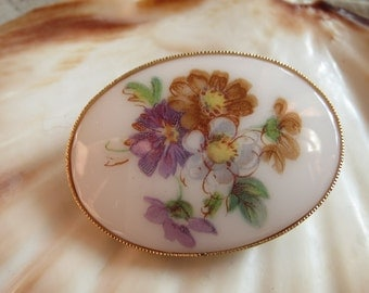 Brooch, vintage, old cabochon-60-er years-vintage brooch, flower brooch, pin, Tuchnadel, old jewelry