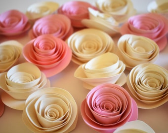 Blush Pink Wedding Decor, Wedding Flowers, Ivory and Blush Pink Paper Flowers