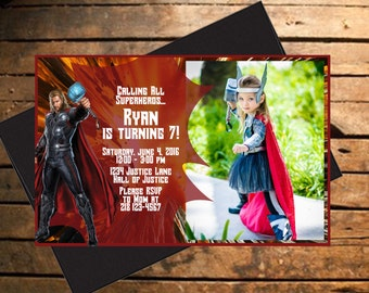 Downloadable Thor Themed Birthday Invitation with Photo