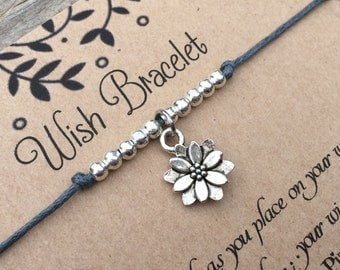 Flower Wish Bracelet, Make a Wish Bracelet, Lotus Flower Bracelet, Wish Bracelet, Friendship Bracelet, Gift For Her, Cord Bracelet, Gift