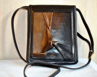 Vintage solid genuine leather shoulder bag messenger bag