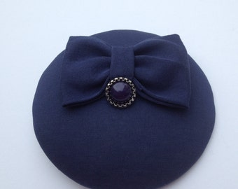 Fascinator dark blue with bow Dekoknopf
