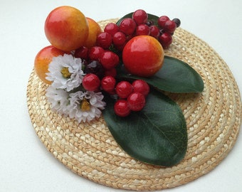 Fascinator natural straw base with berries, flowers and leaves