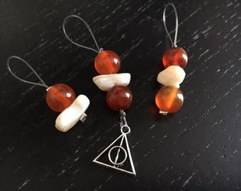 Dyed jade / Orange markers with Harry Potter Hallows symbol