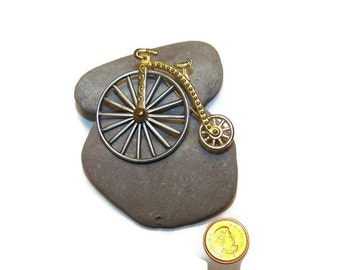 J.J. Bicycle Brooch, Victorian Large MOVING Wheel PIN, Jonette Jewelry Collectible, 1980s, Gold and Pewtertone, Unused, Signed, Gift for her