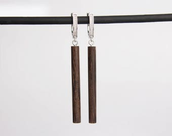 Boho earrings Long earrings Brown wooden earrings Lightweight Earrings Stylish earrings Dangle Earrings Everyday earrings Minimalist jewelry
