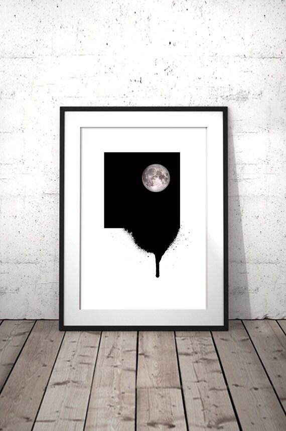 Full moon black and white prints minimalist decor for Black and white mural prints