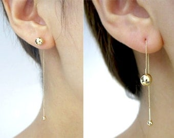 14K gold threader earring/Long chain earrings/Gold threader earring/Earrings/Piercing/Chain earring/Ball piercing/Dangle earrings/Gift