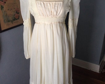 1970's creamy white maxi dress