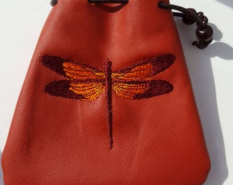 Embroidered Ox-blood Red Leather Drawstring Pouch Bag - Dragonfly