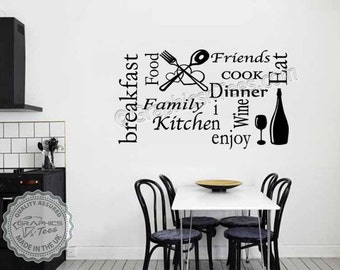 Kitchen Montage Wall Sticker Quote Word Art Collage Dining Room Home Decor Decal
