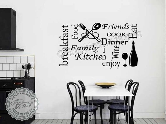Kitchen Montage Wall Sticker Quote Word Art Collage Dining