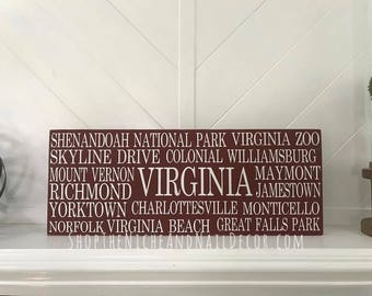 Virginia Home Decor, Virginia State Decor, Rustic Home Decor, Virginia Wood Sign, Gift Idea, Wood Sign, Home Decor, State Home Decor