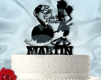 Babette and Lumiere Be Our Guest With Last Name Wedding Cake Topper